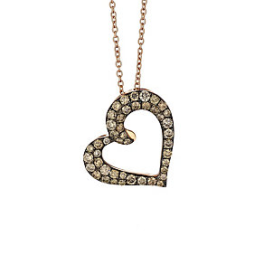 Le Vian 14ct Strawberry Gold Chocolate Diamond heart pendant - Product number 2364522