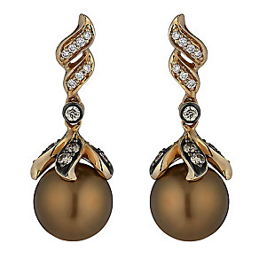 Le Vian 14ct rose gold cultured Chocolate Pearl earrings - Product number 2364573
