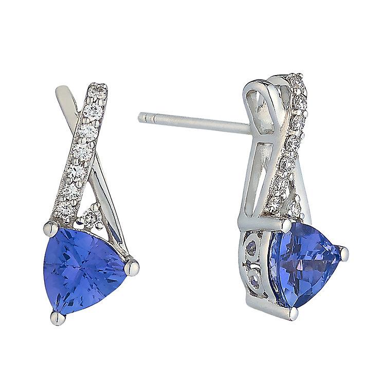Le Vian 14ct Vanilla Gold Tanzanite & Diamond stud earrings - Product number 2364581