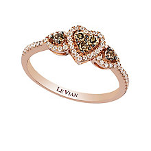 Strawberry Gold Chocolate & Vanilla Diamond Heart Ring - Product number 2367823