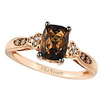 14ct Strawberry Gold™ Chocolate Quartz™ & Diamond Ring - Product number 2367955