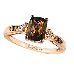 14ct Strawberry Gold® Chocolate Quartz® & Diamond Ring - Product number 2367955