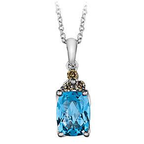 14ct Vanilla Gold Ocean Blue Topaz & Diamond Pendant - Product number 2368307