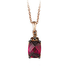 14ct Strawberry Gold Raspberry Rhodalite & Diamond Pendant - Product number 2368315