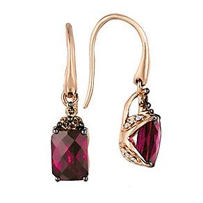 Strawberry Gold Raspberry Rhodalite & Diamond Earrings - Product number 2368331