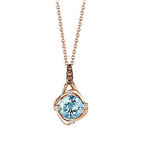14ct Strawberry Gold Sea Blue Aquamarine® & Diamond Pendant - Product number 2368358