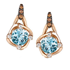 Strawberry Gold® Sea Blue Aquamarine® & Diamond Earrings - Product number 2368374