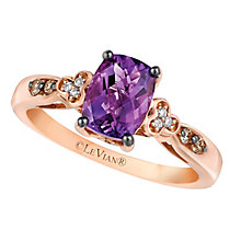 14ct Strawberry Gold Grape Amethyst & Diamond Ring - Product number 2368404