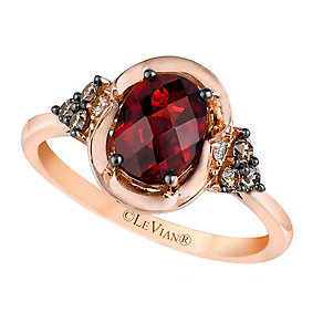 14ct Strawberry Gold Pomegranate Garnet & Diamond Ring - Product number 2368544
