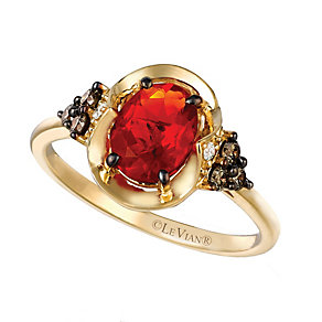 14ct Honey Gold Neon Tangerine Fire Opal & Diamond Ring - Product number 2368676
