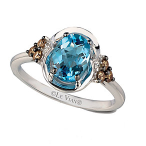 14ct Vanilla Gold Ocean Blue Topaz & Diamond Ring - Product number 2368803