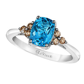 14ct Vanilla Gold® Ocean Blue Topaz® & Diamond Ring - Product number 2368935