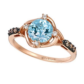 14ct Strawberry Gold Sea Blue Aquamarine & Diamond Ring - Product number 2369206