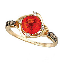 14ct Honey Gold Neon Tangerine Fire Opal & Diamond Ring - Product number 2369346