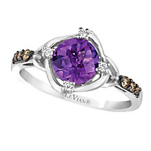 14ct Vanilla Gold Hard Candy Amethyst & Diamond Ring - Product number 2369478