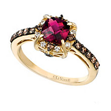 14ct Honey Gold Raspberry Rhodalite & Diamond Ring - Product number 2369591