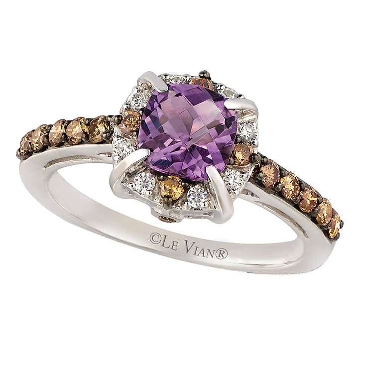 14ct Vanilla Gold Hard Candy Amethyst & Diamond Ring - Product number 2369729
