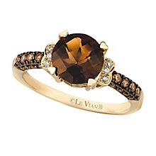 14ct Honey Gold Chocolate Quartz & Diamond Ring - Product number 2369990