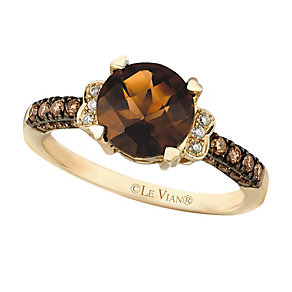 14ct Honey Gold® Chocolate Quartz® & Diamond Ring - Product number 2369990