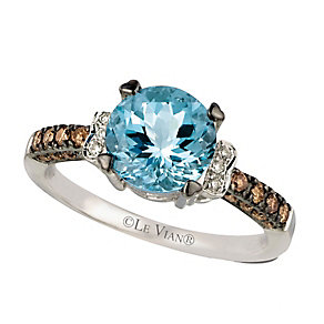 14ct Vanilla Gold Sea Blue Aquamarine & Diamond Ring - Product number 2370123