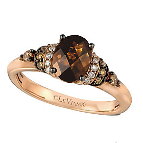 14ct Strawberry Gold Chocolate Quartz & Diamond Ring - Product number 2370395