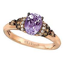 14ct Strawberry Gold Hard Candy Amethyst & Diamond Ring - Product number 2370662