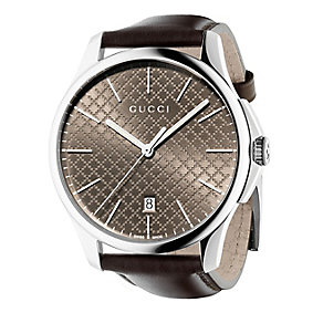Gucci G-timeless slim men's brown leather strap watch - Product number 2378531
