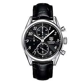 TAG Heuer Carrera men's auto black leather strap watch - Product number 2391767