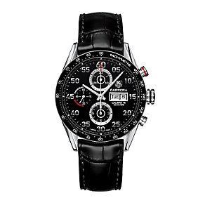 TAG Heuer Carrera men's black leather strap watch - Product number 2391848
