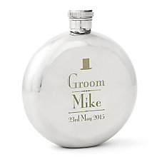 Decorative Wedding Groom Round Hip Flask - Product number 2391902