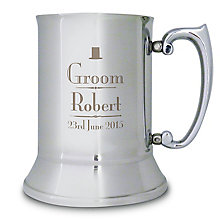 Decorative Wedding Groom Stainless Steel Tankard - Product number 2392097