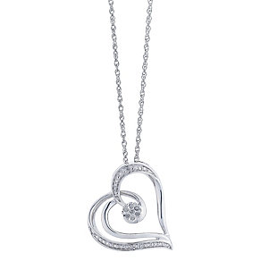Sterling Silver Heart Design Diamond Pendent - Product number 2393654