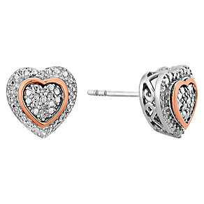 Silver & 9ct Rose Gold Diamond Set Heart Stud Earrings - Product number 2393670
