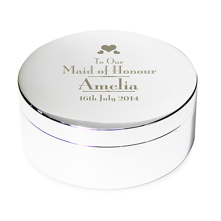 Decorative Wedding Maid of Honour Round Trinket Box - Product number 2393727