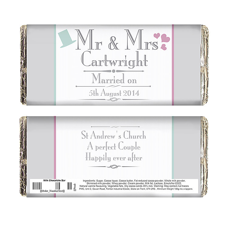 Decorative Wedding Mr & Mrs Chocolate Bar - Product number 2393972
