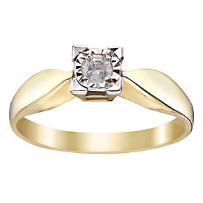 9ct Yellow Gold Illusion Set Diamond Solitaire Ring - Product number 2395215
