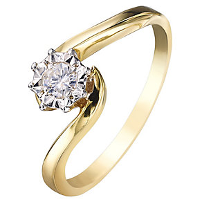 9ct Yellow Gold Twist Design Illusion Diamond Solitaire Ring - Product number 2395347