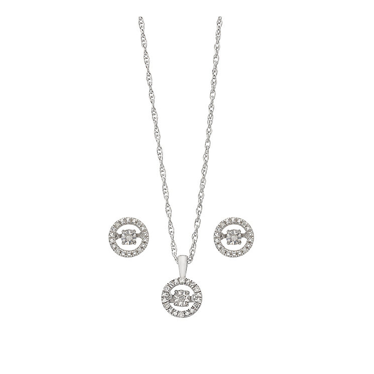 Diamonds in Rhythm silver diamond earrings & pendant set - Product number 2396629
