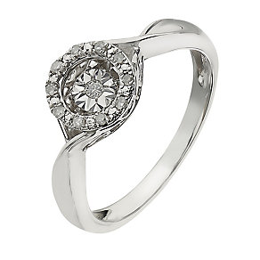 Diamond in Rhythm sterling silver diamond halo ring - Product number 2396750