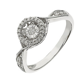Diamond in Rhythm sterling silver 0.10ct diamond halo ring - Product number 2396882