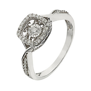Diamond in Rhythm sterling silver 0.15ct halo cushion ring - Product number 2397021