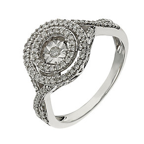 Diamond in Rhythm sterling silver 0.25ct double halo ring - Product number 2397153