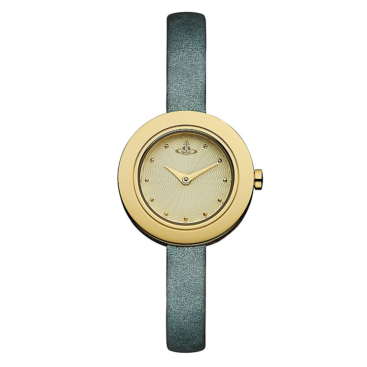 Vivienne Westwood Edge metallic green leather strap watch - Product number 2397439