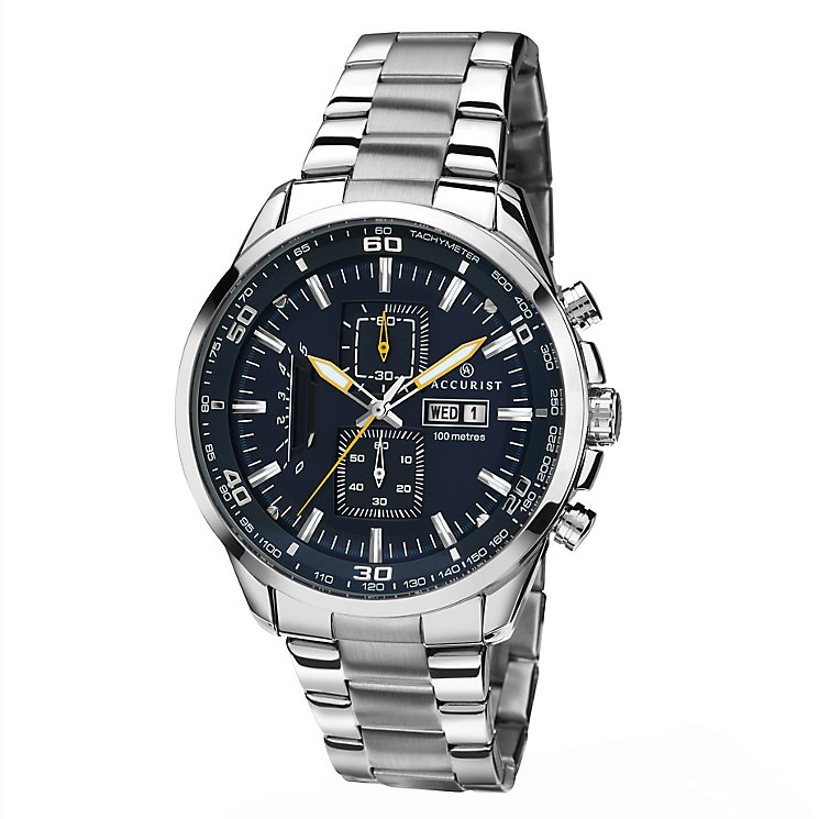Accurist Men's Stainless Steel Blue Dial Bracelet Watch - Product number 2399857