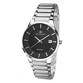 Accurist Men's Stainless Steel Black Dial Bracelet Watch - Product number 2399873