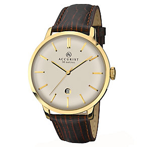 Accurist Men's Silver Dial Brown Leather Strap Watch - Product number 2399938