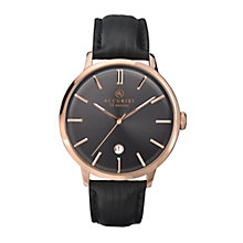 Accurist Men's Rose Gold Tone & Black Leather Strap Watch - Product number 2399946
