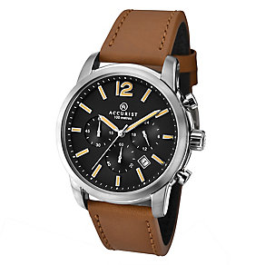 Accurist Men's Black Dial Tan Leather Strap Watch - Product number 2399989