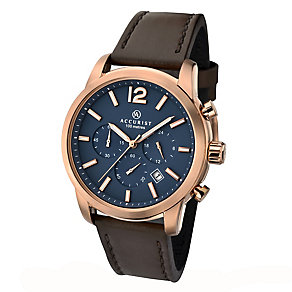 Accurist Men's Rose Gold Plated Brown Leather Strap Watch - Product number 2399997