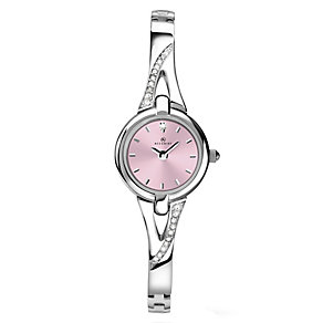 Accurist Ladies' Silver Tone Pink Dial Bracelet Watch - Product number 2400170